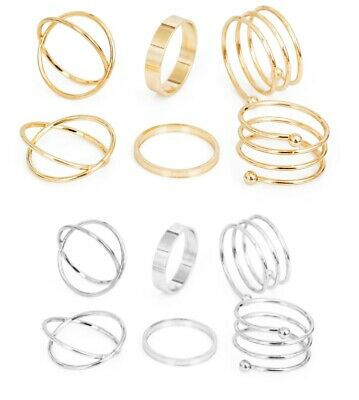 6pcs Gold Silver Plated Spiral Crossover Midi Mid Finger Ring Jewellery UK RG22