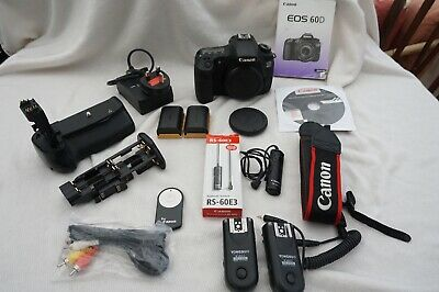 Canon EOS 60D 18.0MP Digital SLR Camera - Black (Body Only) + Accessories