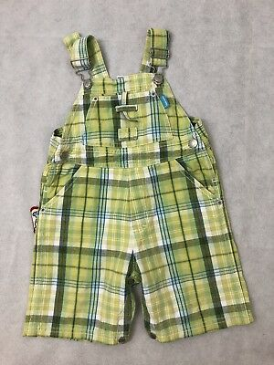 FRED BARE retro size 2 Boys summer Green check overalls dungarees