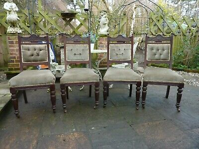 4 Late Victorian Mahogany Dinning Chairs