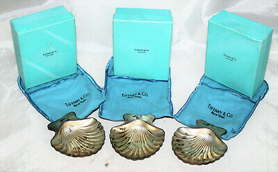 Three Tiffany & Co. Sterling Silver Shell Dishes 22479 L in Bags and Boxes