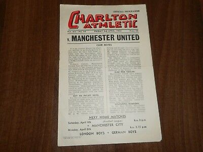 CHARLTON ATHLETIC  v  MANCHESTER UNITED  1952/3  ~ APRIL 3rd  VINTAGE  FREE POST