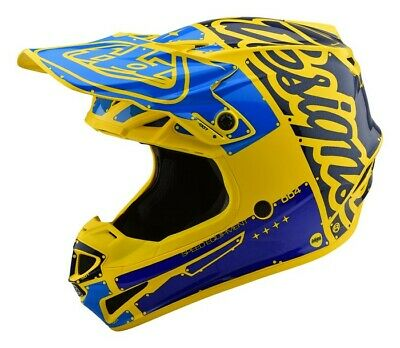 2019 Troy Lee Designs Tld Se4 Polyacrylite Adult Helmet Factory Yellow Blue New