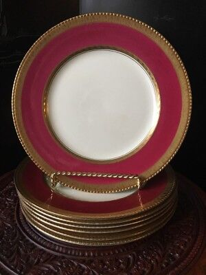 7- Deep Rose Pink Gold Gilded Booths Silicon China Dinner Plates