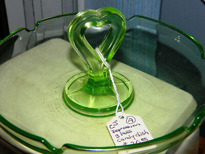 Vintage Depression Glass Transparent Green Heart Shaped Center Handle Candy Dish