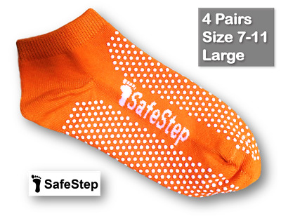 4 Pairs Medical Grip/Non-Slip Socks Size 7-11 (Large) Hospital Quality