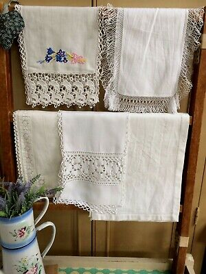 Job Lot 5 Table Runners/Cloths Mats Embroidered & Lace work ~*Vintage Linens*~