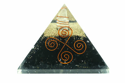 Black Tourmaline Orgone Pyramid NEW 4 Coil LG 70mm EMF Orgonite Protection