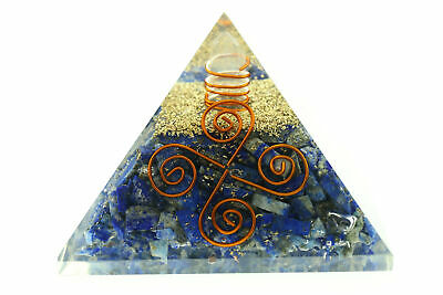 "Lapis Lazuli Orgone Pyramid 2.75"" LG 70mm NEW 4 Coils Orgonite EMF Protection"