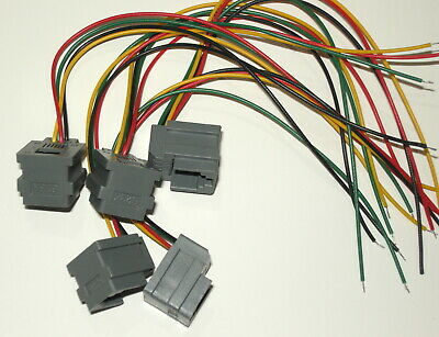 Lot of 5 Modular Jacks with leads RJ11/RJ14 wiring 6P4C, Part# 623K, see photos