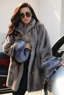 Sapphire Saga Mink Fur Coat Silver Fox Clas Of Sable Chinchilla Vest Long Jacket