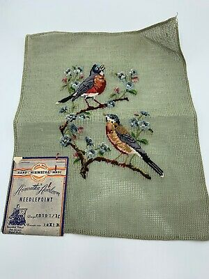 Preworked Petit Point Needlepoint Canvas BIRDS