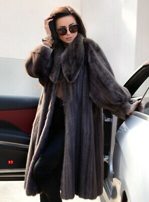 New Graphite Real Mink Fur Coat Class Jacket Chinchilla Sable Long Vest Fox Gray