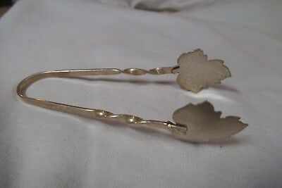 "3.5"" Sterling Silver Canada Maple Leaf Sugar Tongs- Signed Hammond- Twisted Arms"