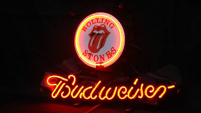 Rolling Stones Budweiser Business Real Glass Beer Bar Pub Store Neon Light Sign