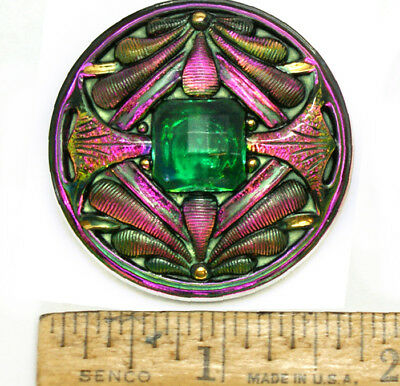 42mm Vintage Czech Glass Art Nouveau Double Dragonfly Green FIRE AB Button 1pc
