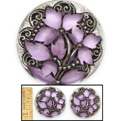 27mm Vintage Czech Glass Matte LAVENDER Silver Lace IVY Leaf Flower Buttons 2pc