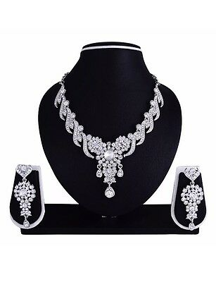 Indian Silver Clear White crystal Faux Diamond Necklace Earrings Prom Bridal Set