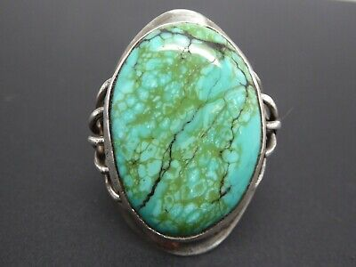 Vintage Modernist With Brutalist Style Blue Turquoise Gemstone Large Ring 13