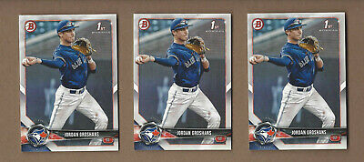 LOT OF 3 JORDAN GROSHANS 2018 Bowman Rookie Cards Toronto Blue Jays RC
