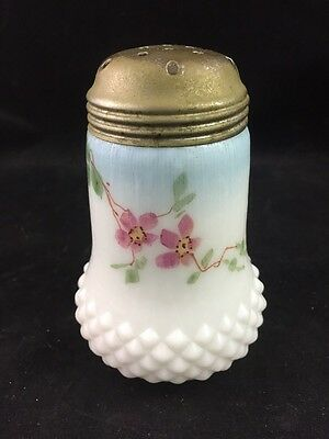 Victorian EAPG Milk Glass Painted Diamond Base Sugar Shaker / Muffineer c 1900