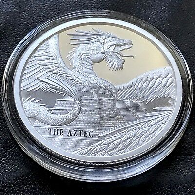 The Aztec World of Dragons Series 1 oz 999 Silver Round Quetzalcoatl Snake