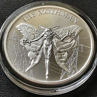 2018 THE MOTHMAN 1 oz .999 Fine Silver High Relief Cryptid Monster Wings