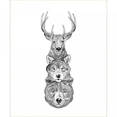 Hudson Animal Panel Bear Wolf Deer 35 x 43 inches tall Camelot Cotton print