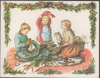 Christmas Card Artist.Mint Vintage Tasha Tudor Christmas Card American Artist P937 Kids Decorate Cat