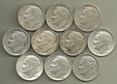 Roosevelt Dimes - US 90% Silver Coin Lot - 10 Circulated Coins #3967