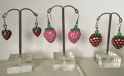 Strawberry gem earrings jewellery dangling x14 pairs job lot resale RRP £7.99
