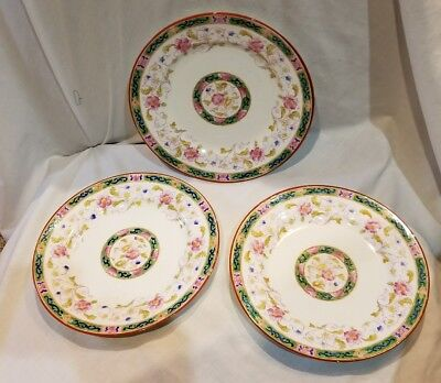 "3 Royal Chelsea Tennysen Salad Plates Pink  Roses Green Bands 8"" England"