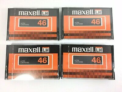 Lot of 4 Vintage MAXELL L-46 Blank Cassette Tapes FACTORY SEALED NOS 46 Mins.