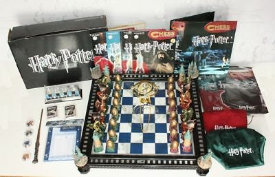 HARRY POTTER DRAGONS CHESS SET - DeAgostini, Board, Time Turner and Wand Bundle