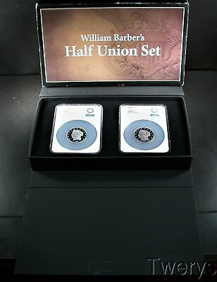 Two 2017 William Barber Silver 1 Oz Each Pattern Half Union Design Ngc Gem Proof