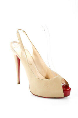 1fc6d7f3e35 Christian Louboutin Womens Platform Peep Toe Slingback Pumps Beige Leather  41