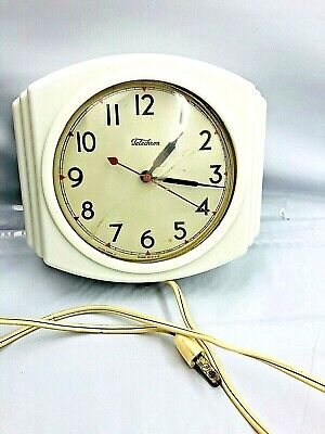 Vintage Telechron Electric Art Deco Wall Clock Model 2H19tty Works Has Scuffs