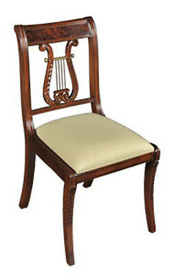 Pair of Hand Carved Mahogany Solid Wood Dining Side Chairs - Lyre Back