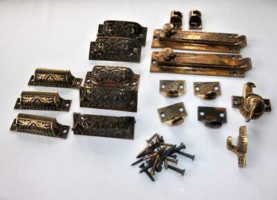 Estate Lot Antique Eastlake Victorian Brass Drawer Pulls Window Sash Lift Pulls