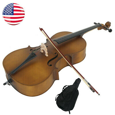 US 4/4 Adult Professional Acoustic Basswood Cello Matte Golden w/Case Bow Rosin