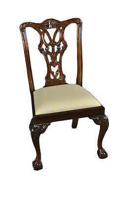 Pair of 2 Hand Carved Mahogany Wood Dining Side Chairs - Chippendale
