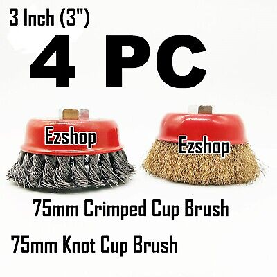 """4 Wire Cup Brush 3"""" (75mm) for 4-1/2"""" (115mm) Angle Grinder Twist Knot Crimped"""