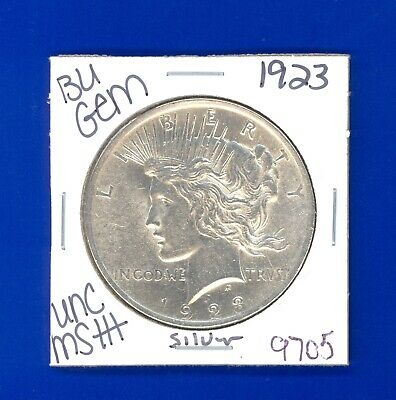1923 P Bu Gem Peace Silver Dollar Unc Ms+ Genuine U.s. Mint Rare Coin 9705