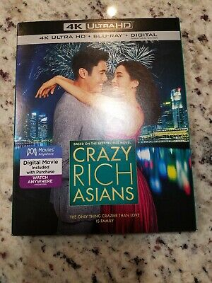 NEW CRAZY RICH ASIANS 4K, BLU Ray, DIGITAL + SLIPCOVER SLEEVE FREE SHIPPING!!