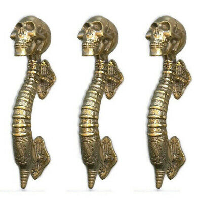 "3 small SKULL head handle DOOR PULL spine natural AGED BRASS old style 8"" B"