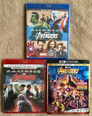 Avengers Blu Ray/4K/3D Lot, Age Of Ultron, Infinity War, NEW