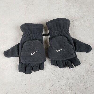 Nike Youth Fleece Gloves Convertible Fingerless Mittens Ski Winter Boys Gray