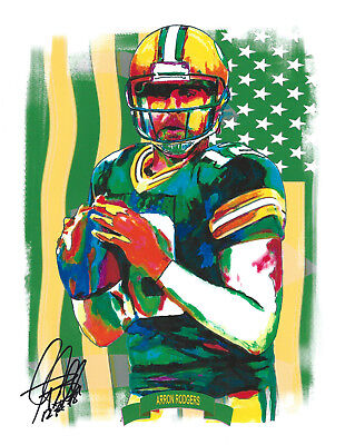 Aaron Rodgers Packers Lego Brick Framed Mosaic Limited Edition Art Print