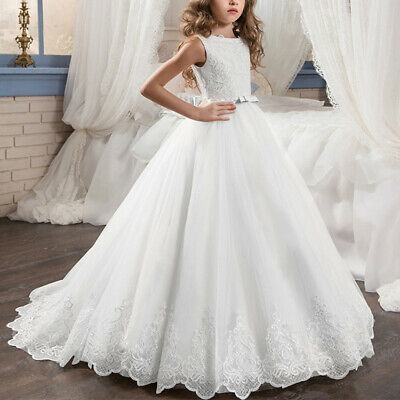 First Communion Princess Dress Lace Ball Gown Flower Girls for Party Wedding