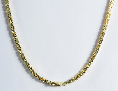 """9.40 gm 14k Gold Solid Yellow Women's Men's Byzantine Chain Necklace 2 mm 16"""""""